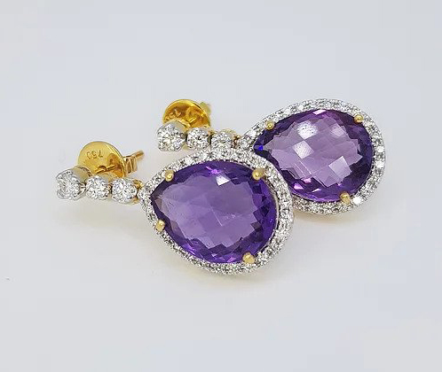Pear Shaped Amethyst and Diamond Drop Earrings, 18ct yellow gold.