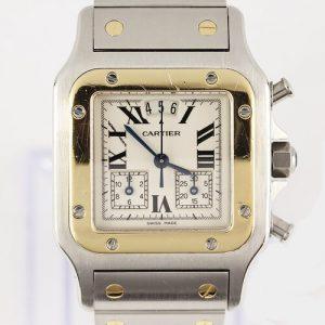 Cartier Santos Galbee Chronograph 29mm Chronoflex Steel and Gold