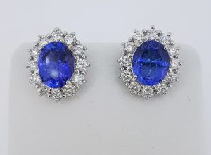 5.21ct Tanzanite and Diamond Oval Cluster Stud Earrings, 18ct White Gold