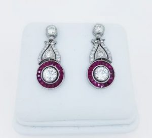 Ruby and Diamond Cluster Drop Earrings in 18ct White Gold