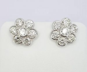 Daisy Diamond Cluster Stud Earrings, 3.00 carat total, 18ct White Gold