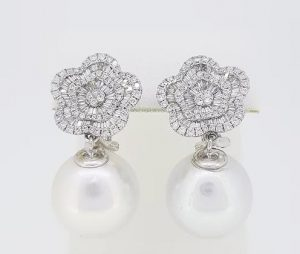 South Sea Pearl and Diamond Cluster Drop Earrings, 18ct White Gold