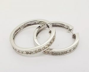 2.88ct Princess Cut Diamond Set Hoop Earrings in 18ct White Gold