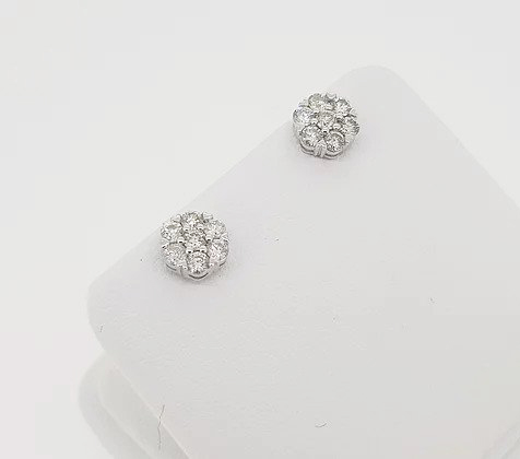 Diamond Flower Cluster Stud Earrings, 0.72 carat total, mounted in 18ct white gold, with post and butterfly fittings
