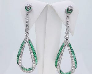 Pair of Contemporary Emerald, Diamond and Platinum Drop Earrings