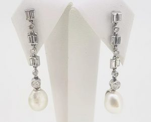 Natural Pearl and Diamond Drop Earrings, 18ct White Gold, Certified