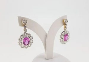 Pink Sapphire and Diamond Oval Cluster Drop Earrings in 18ct Gold