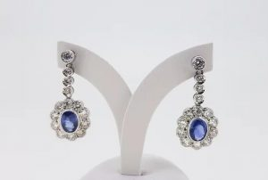 2.50ct Sapphire and Diamond Oval Floral Cluster Drop Earrings