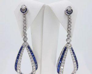 Pair of Contemporary Sapphire, Diamond and Platinum Drop Earrings