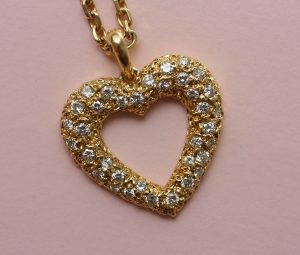 Cartier Diamond Set Open Heart 'Sirene' Pendant and Chain, Signed