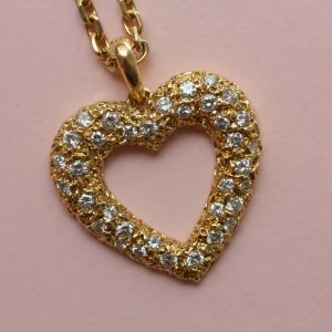 Cartier Diamond Set Open Heart 'Sirene' Pendant and Chain, brilliant-cut diamonds with 1.80 carat total, Signed and Numbered Cartier, Paris, 122123 and 11479