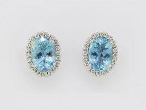Aquamarine and Diamond Oval Cluster Stud Earrings