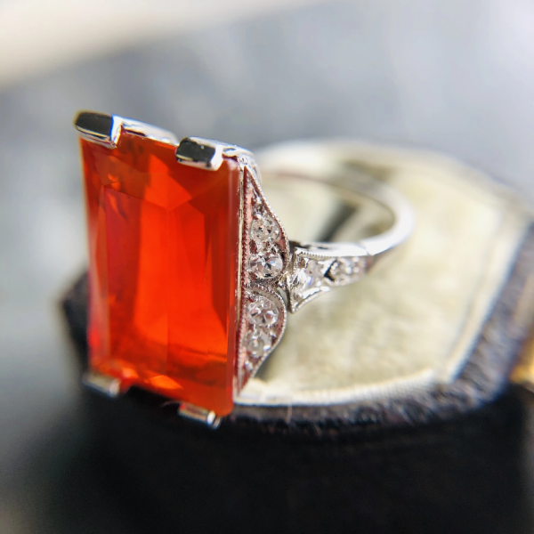 Antique Art Deco Fire Opal and Diamond Ring