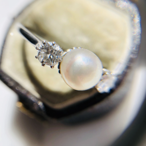 Antique Edwardian Natural Pearl and Diamond Three Stone Ring