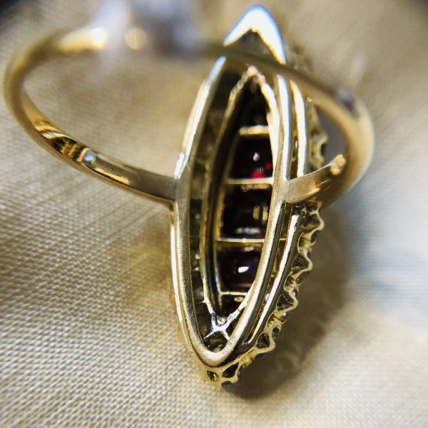 Antique Victorian 1.30ct Ruby and Diamond Navette Ring