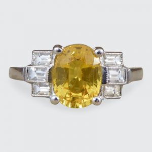 Art Deco Style 1.60ct Yellow Sapphire & Baguette Cut Diamond Ring