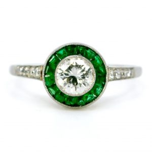 Art Deco Style Diamond and Emerald Target Cluster Platinum Ring