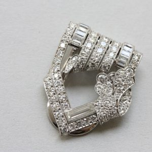 Art Deco 3.20ct Diamond Dress Clip, Signed Bailey Banks and Biddle; with curl and flower decor set with mixed-cut diamonds, in original case