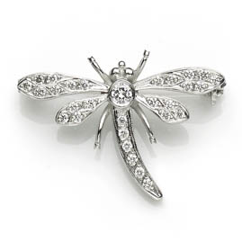 Diamond Set Dragonfly Brooch