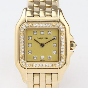 Cartier Ladies Panthère 18ct Yellow Gold Diamond Dial and Bezel, Box