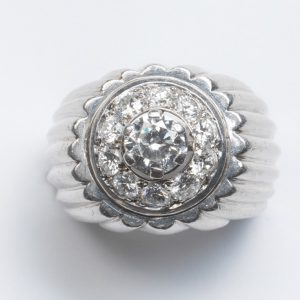 Vintage Georges Lenfant 1.75ct Diamond and Platinum Target Ring; ribbed platinum frame set with central diamond cluster, Signed, Circa 1970.