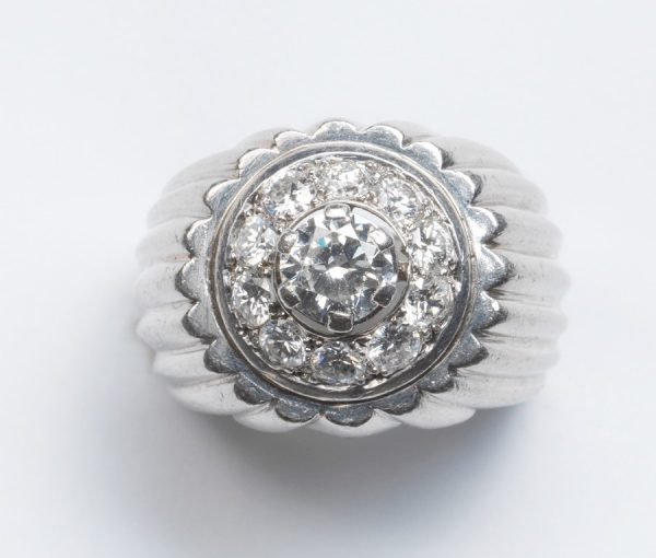 Vintage Georges Lenfant 1.75ct Diamond and Platinum Target Ring; ribbed platinum frame set with central diamond cluster, Signed, Circa 1970.