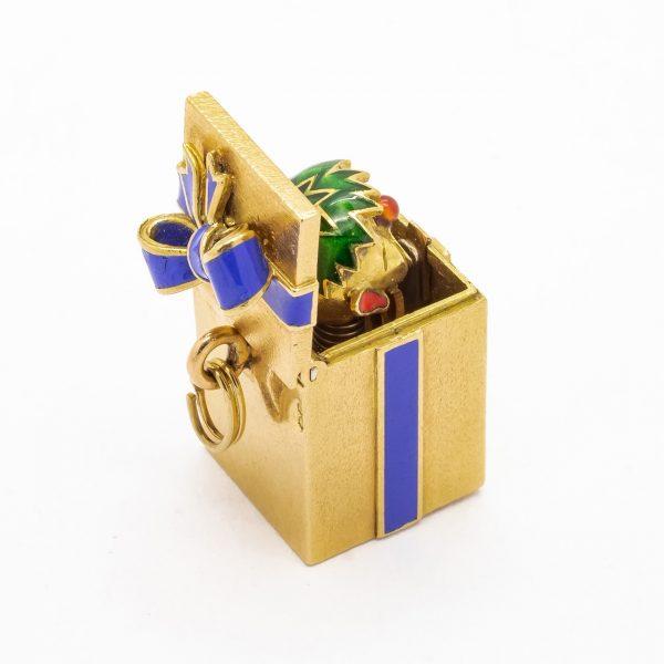Vintage Jack-In-The-Box Gold Pendant, Circa 1950