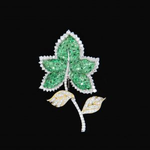 Green Tsavorite Garnet and Diamond Leaf Brooch