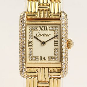 Cartier Tank Ladies 18ct Gold Factory Diamond Dial and Bezel, with Box