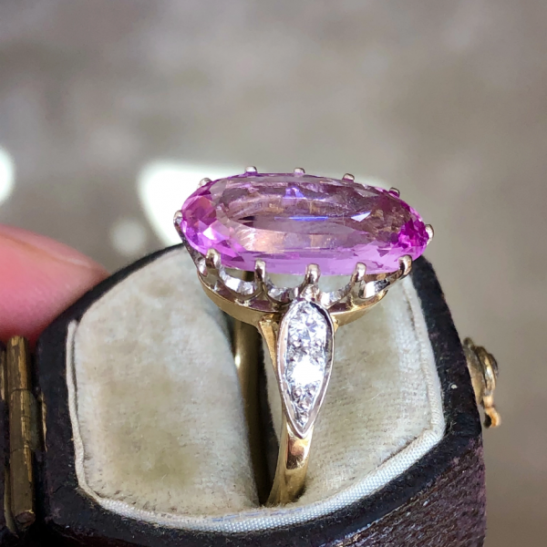 Late Art Deco 5ct Imperial Pink Topaz and Diamond Ring