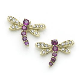 Ruby and Diamond Dragonfly Earrings