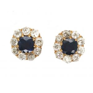 Antique Sapphire and Diamond Cluster Stud Earrings