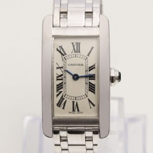 Cartier Tank Americaine Ladies 18ct White Gold Watch, With Cartier Box