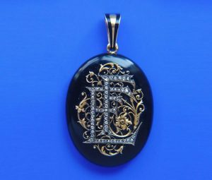 Antique Victorian Eliza Falize's Onyx, Diamond and 18ct Gold Oval Locket