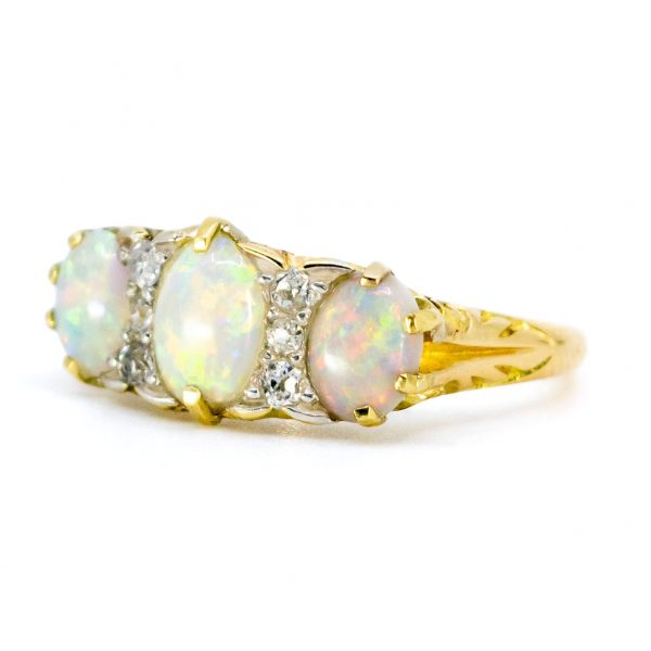 Victorian Style Opal and Old Mine Cut Diamond 18ct Gold Ring