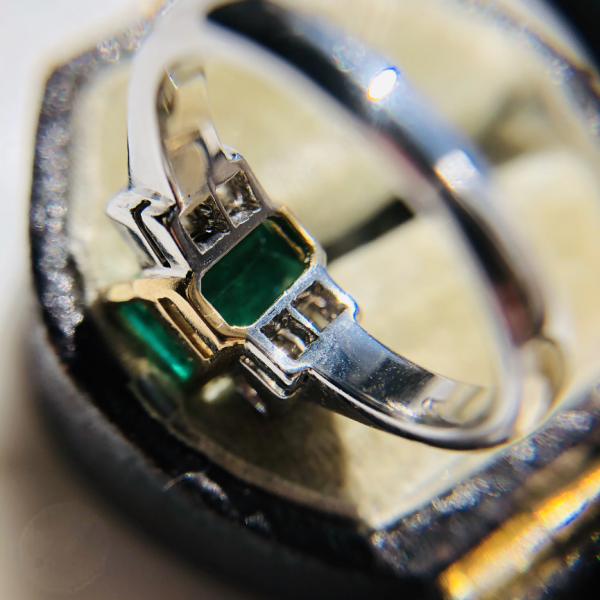 Vintage 1.77ct Emerald and Diamond 18ct White Gold Ring
