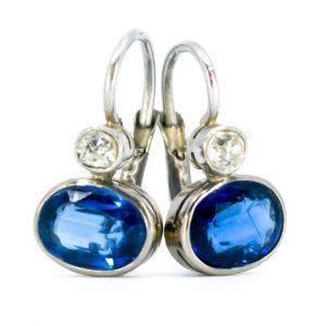 Vintage Sapphire and Old Mine Cut Diamond Drop Earrings