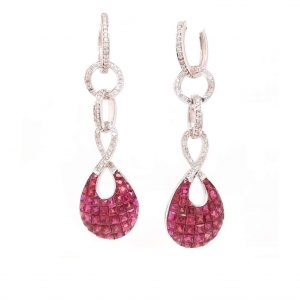 21.50ct Ruby and Diamond Drop Earrings in 18ct White Gold