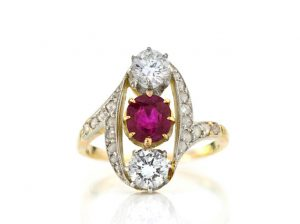 Vintage Natural 1.30ct Burma Ruby and Diamond Ring, with Certificate