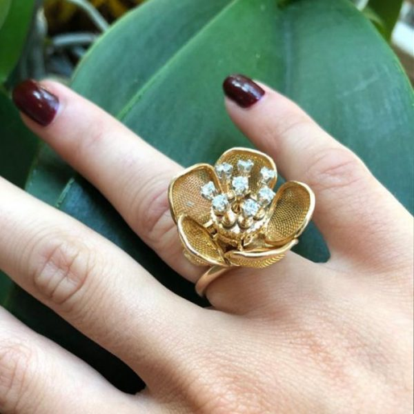 Vintage Piaget 18ct Gold and Diamond Flower Ring and Brooch Suite, Circa 1960