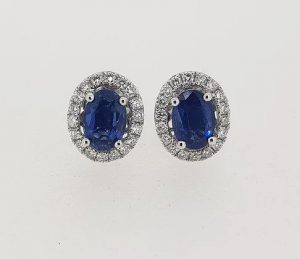 1.93ct Sapphire and Diamond Oval Cluster Stud Earrings, 18ct Gold
