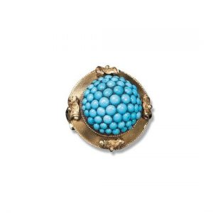 Antique Victorian Turquoise and 15ct Gold Bombe Ring