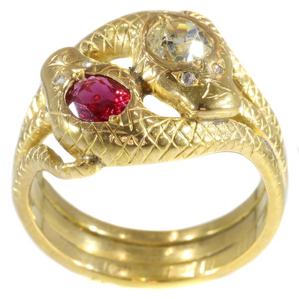 Antique Late Victorian Ruby and Diamond Gold Double Serpent Snake Ring
