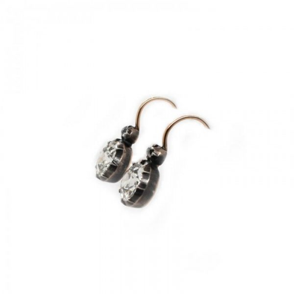 Old Cut Diamond Drop Earrings, 3.24 carats, in silver-upon-gold