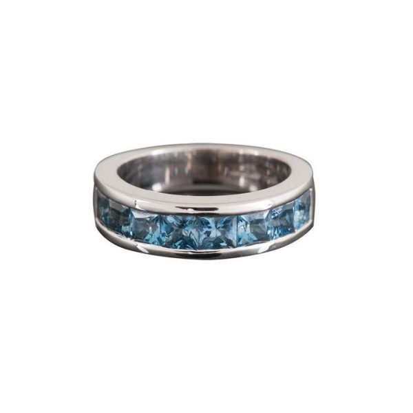 Square Cut Aquamarine Full Eternity Ring; channel set with square step-cut aquamarines, 1.69 carat total, in 18ct white gold