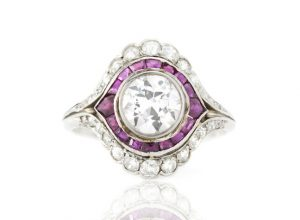 Vintage 3ct Diamond and Ruby Cluster Ring in Platinum