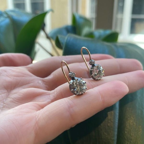 3.24ct Old Cut Diamond Drop Earrings, in silver-upon-gold