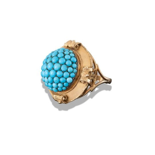 Antique Victorian Turquoise and 15ct Gold Bombe Ring; set with a vivid turquoise cluster, with pierced scroll shoulders, in 15ct yellow gold