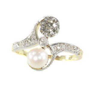 Antique Belle Epoque Diamond and Pearl Toi-Et-Moi Engagement Ring