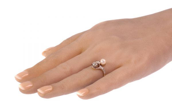 Antique Belle Epoque Diamond and Pearl Toi et Moi Engagement Ring